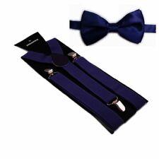 Hosenträger und Fliegen Set -Y Form 25mm 3 Clips Herren Fliege Navy Dunkel Blau