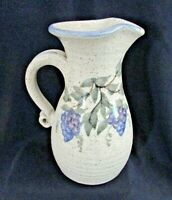 "GRANITE LAKE POTTERY GLP Pitcher, Grape & Leaf Design, 7"", NH Studio Art Pottery"