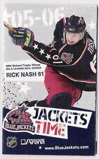 2005-06 COLUMBUS BLUE JACKETS POCKET SCHEDULE - RICHARD TROPHY WINNER RICK NASH!