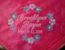 Personalized Baby Blanket Embroidered Fleece Tahoe for Girl or Boy 5 colors