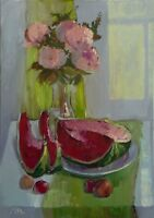 Still Life with Peonies and Watermelon Flowers by Mary B. Original oil Painting