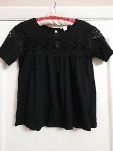 Ladies Size 6 H&M Black Lace Cotton Tshirt Top Boho