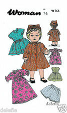 366 Vintage Doll Clothes Wardrobe Pattern 16-inch