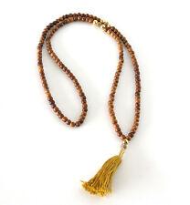 WOOD BEADED Necklace Gold Diamante Balls Tassle NEW