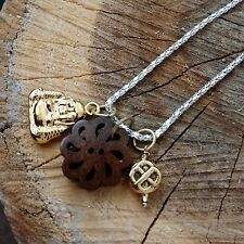 Gold Compassion Buddha Love Knot Dharma Wheel Necklace Amulet