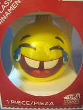 EMOJI GLASS CHRISTMAS ORNAMENT LOL LAUGHING FACE YELLOW EMOTICON NEW IN THE BOX