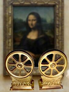 Vintage Brass Wagon Wheel Bookends