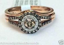 Champagne Diamond 14k Rose Gold Halo Engagement Ring Bridal Vintage Bridal Set