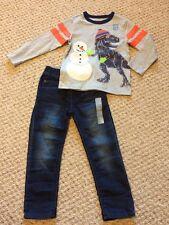 New w/Tags*GAP Brand Toddler Boy's L/S Outfit w/T-Rex & Denim Jeans*Size 4