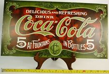 COCA COLA  5 CENTS AT FOUNTAIN16X8.5 METAL SIGN