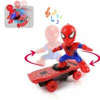 Electric Sound Skateboard Spiderman Music Xmas Scooter Rotating Toys Superhero