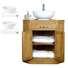 Solid Oak Corner Vanity Unit Wash Stand Cabinet Basin Sink | Bathroom Furniture