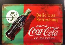 Coca Cola In Bottles 5 Cent Embossed Metal Sign Wall Decor