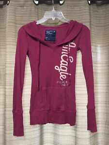 "American Eagle Lightweight Pullover Maroon Purple ""Live Hope Dream"" Hoodie Sz S"