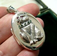 New Vintage Style Victorian Hallmarked Sterling Silver Big Gem Stone CAT LOCKET