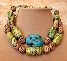 YELLOW BLACK GREY TURQUOISE AZURITE MALACHITE JADE AFRICAN BRASS ART NECKLACE