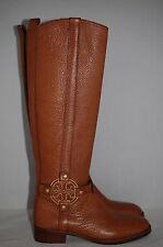 New $495 TORY BURCH Amanda Brown Leather Riding Logo Boots Shoes 5 US / 35 EU