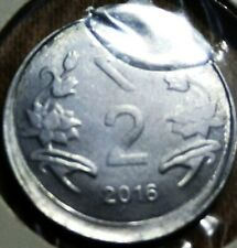 India Republic Two Rupees 2016-C extra metal & off center strike error coin.