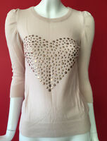 Topshop Nude 3/4 Sleeve Fine Knit Heart Studded Jumper Top Size 8