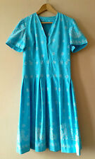 70s does 50s vintage blue cotton dress 10 12 rockabilly