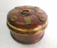 Vintage Old Handcrafted Brass Fitted Beautiful Round shape Wooden Jewellery Box