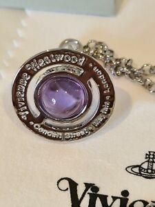 Vivienne Westwood small silver tone purple 3D Orb Pendant Necklace
