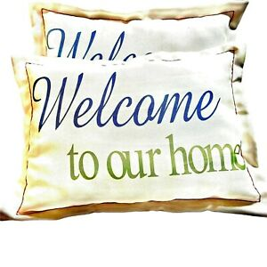 Welcome To Our Home White Blue & Green Pillows
