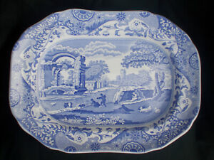 Spode BLUE ITALIAN  Oblong Dish. Measures 12¼ x 9 inches.