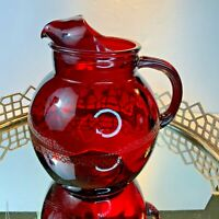 Red Roly Poly Pitcher Depression Glass Anchor Hocking 96 0z 8 tall Vintage