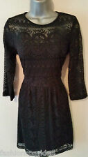 NEXT Black Lace Pattern High Neck 3/4 Sleeve Cotton Mix Skater Empire Dress 12