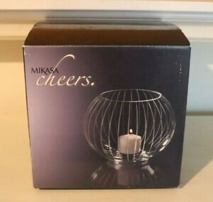 """NIB MIKASA CHEERS GLASS VOTIVE BOWL 6"""" CANDLE HOLDER HANDETCHED"""