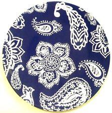 Blue White Paisley Plastic ReUsable Picnic Patio Salad Plates ~ 4 Included