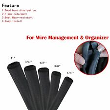 1/4'' - 1'' Split-Sleeve Braided Wire Loom Cable Sleeving Sheathing Decorate Lot