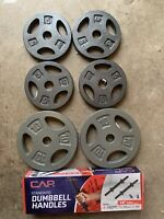 "CAP Barbell Weight Plates (2) 10lb, (4) 5lb, (2) 14"" Handles FAST SHIPPING!!"