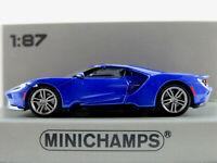 Minichamps 870 088024 Ford GT (2018) in blaumetallic 1:87/H0 NEU/OVP