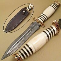 BEAUTIFUL CUSTOM HAND MADE DAMASCUS STEEL HUNTING DAGGER KNIFE BONE HANDLE