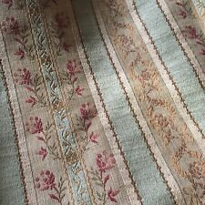 Antique French Floral Stripe Linen Cotton Silk Lisere Brocade Jacquard- Green