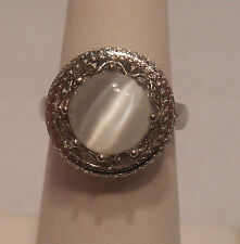 Estate~White Cat's Eye 925 Sterling Silver Halo Style Filigree Ring Size 7