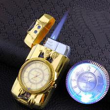 Cool Men Quartz Watch Metal Windproof Jet Torch Gas Butane Lighter Wolf Gold