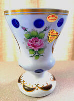 BOHEMIA JOSKA  KRISTALL WHITE CUT TO BLUE W/ GOLD HAND PAINTED HANDMADE VASE