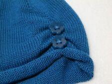 NEW Gymboree Baby Girl Teal Blue Flower Button Knit Beanie Hat Cap sz 0-3 months