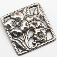 """VTG Mid Century Sterling Silver Flower/Floral/Flora Brooch/Pin 3"""" Sq. 21.8 gr"""