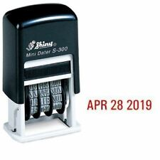 Shiny Self-Inking Rubber Date Stamp S-300 | Mini Line Dater Red Ink