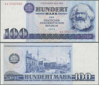 1975 East German DDR 100 Mark Banknote Featuring Karl Marx & East Berlin Scene