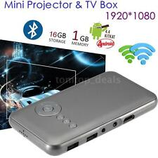 Mini Android DLP LED Projector+ Smart TV Box 1080P Home Cinema 16GB WiFi BT B1N0