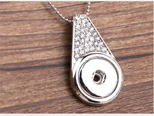 NEW White Crystal Alloy Pendant for Fit Noosa Necklace Snap Chunk Button #R22