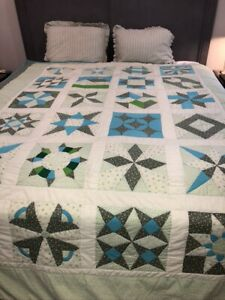 Vintage Novelty Patchwork Quilt Full Sz Turquoise All Different Patterns Repair