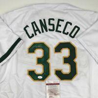 Autographed/Signed JOSE CANSECO Oakland White Baseball Jersey JSA COA Auto