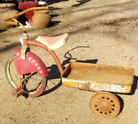Vintage Fire Chief Cycle Tricycle Wagon / Pedal Wagon - original