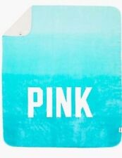 Victorias Secret Pink Teal Blue OMBRE Sherpa XL LIM ED Plush Throw Blanket NWT